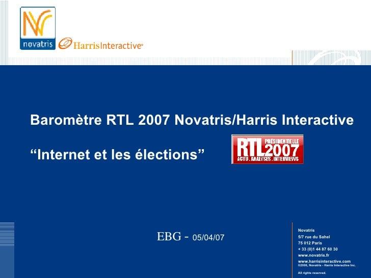 """Baromètre RTL 2007 Novatris/Harris Interactive   """"Internet et les élections"""" EBG  -  05/04/07"""