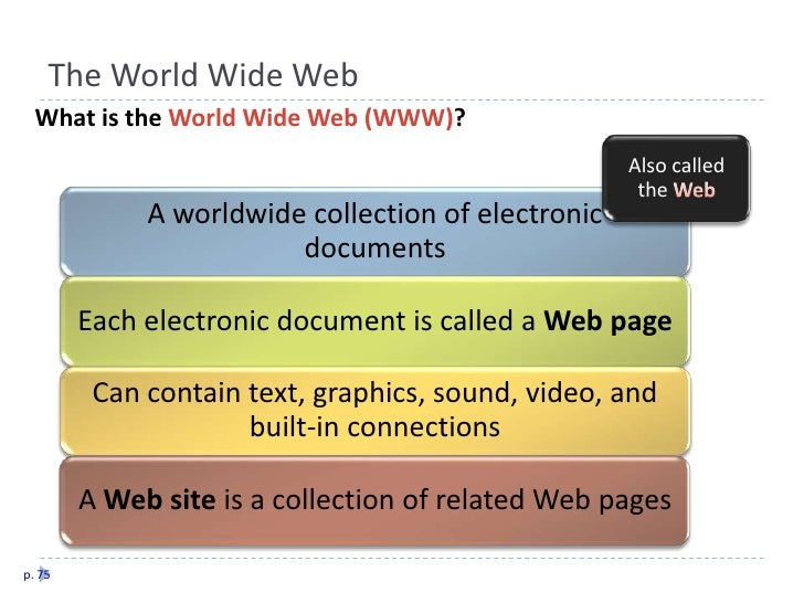 The World Wide Web   What is the World Wide Web (WWW)?                                                     Also called    ...