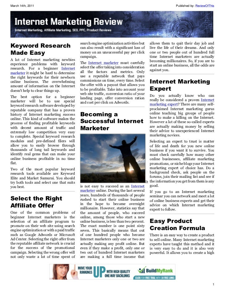 Internet Marketing Review Issue 1