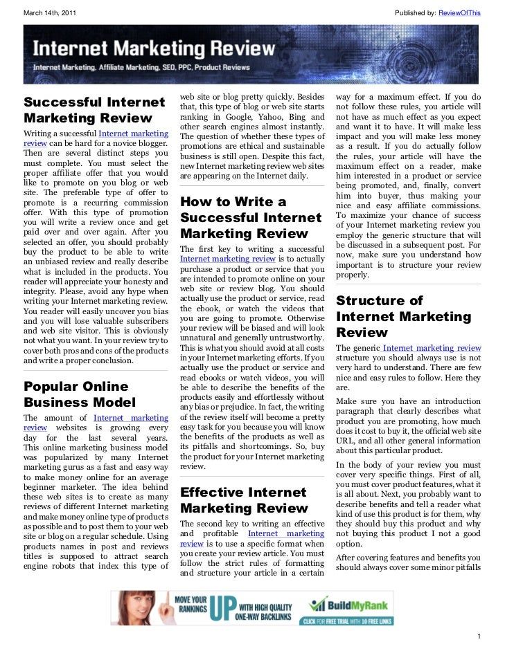 Internet Marketing Review Issue 3