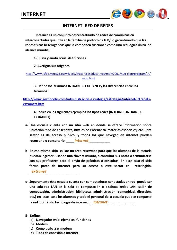 INTERNET                          INTERNET -RED DE REDES-        Internet es un conjunto descentralizado de redes de comun...