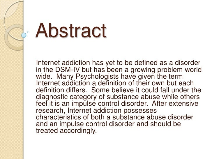 Research paper on internet addiction