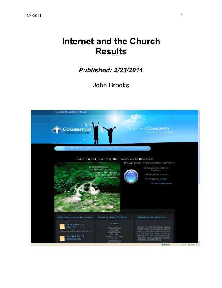 3/8/2011                             1           Internet and the Church                    Results              Published...