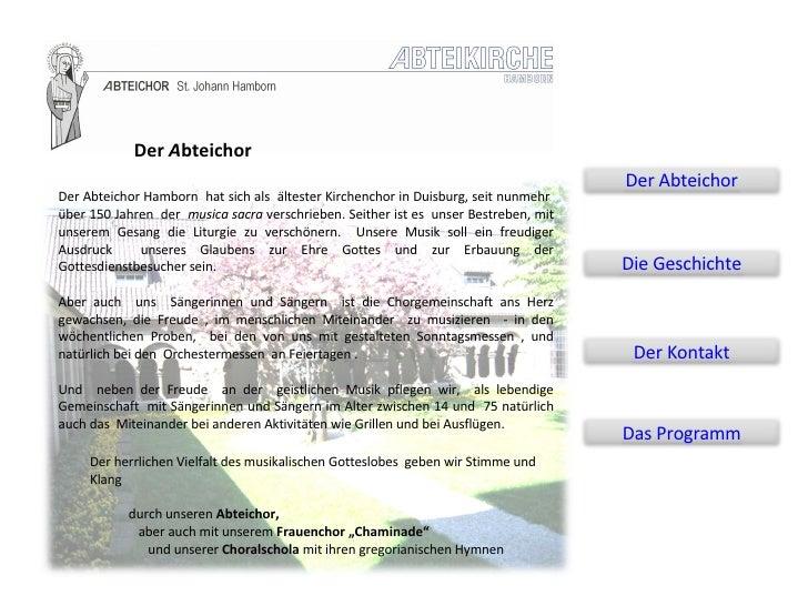 Der Abteichor Hamborn  hat sich als  ältester Kirchenchor in Duisburg, seit nunmehr  über 150 Jahren  der  musica sacra  v...