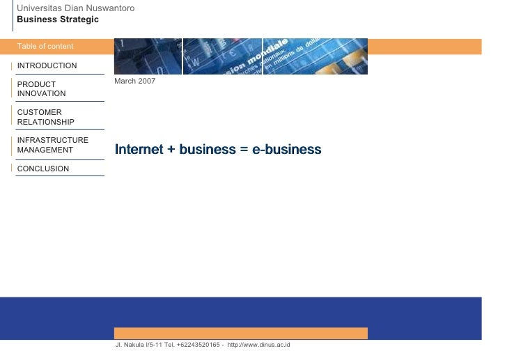 INTRODUCTION PRODUCT INNOVATION CUSTOMER RELATIONSHIP INFRASTRUCTURE MANAGEMENT CONCLUSION March 2007 Internet + business ...