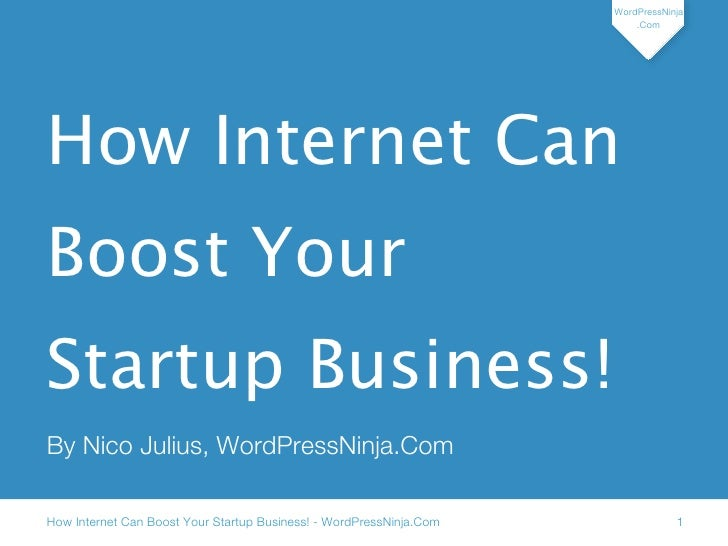 Internet can boost your startup business