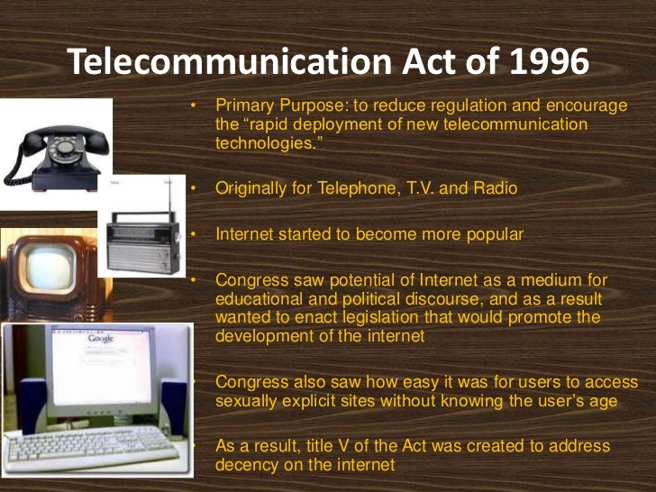 telecommunications act of 1996 The federal communications commission has regulated ownership of mass media outlets since the 1920s the telecommunications act of 1996 abolished some of these.