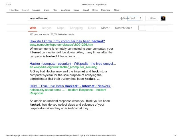 Internet hacked   google search