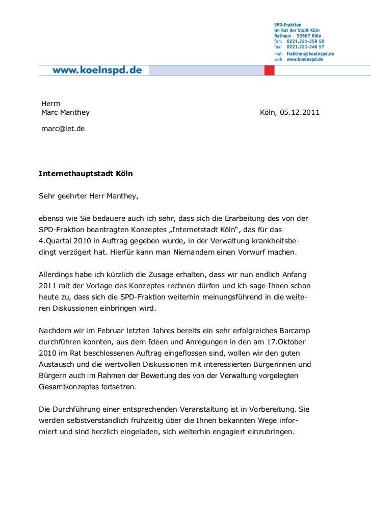 HerrnMarc Manthey                                                   Köln, 05.12.2011marc@let.deInternethauptstadt KölnSehr...