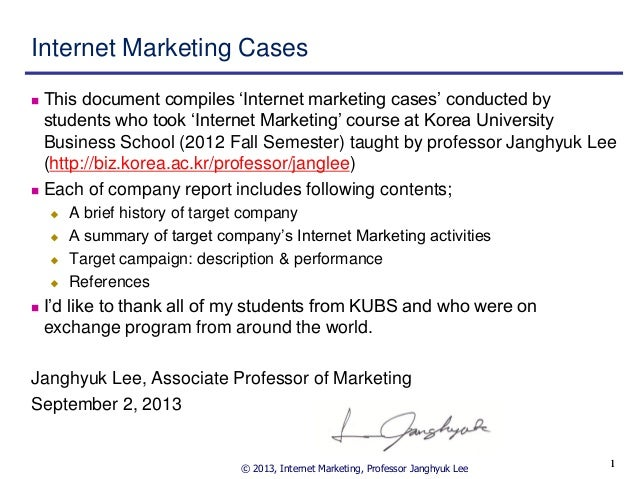 Internet marketing cases 2012 h2