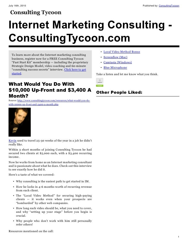Internet marketing consulting consulting tycoon com 16 jul-2010