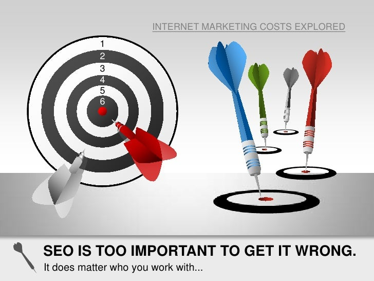 INTERNET MARKETING COSTS EXPLORED<br />1<br />2<br />3<br />4<br />5<br />6<br />SEO IS TOO IMPORTANT TO GET IT WRONG.<br ...