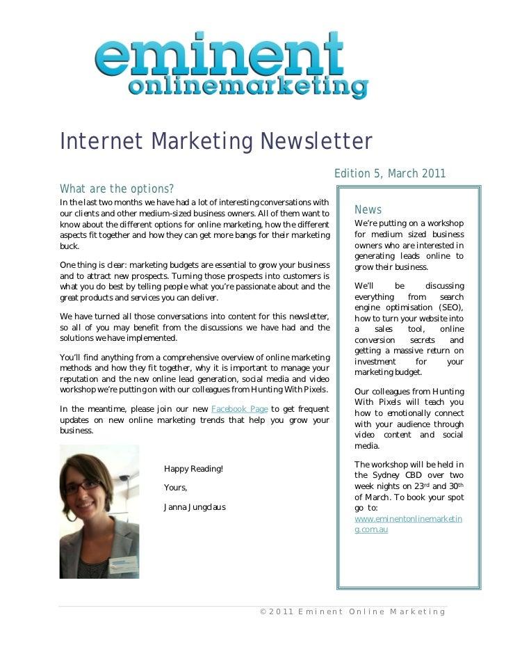 Internet Marketing Newsletter                                                                             Edition 5, March...
