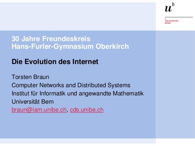 30 Jahre FreundeskreisHans-Furler-Gymnasium OberkirchDie Evolution des InternetTorsten BraunComputer Networks and Distribu...