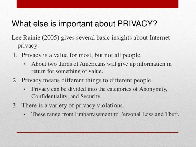 Privacy and security in the internet essay