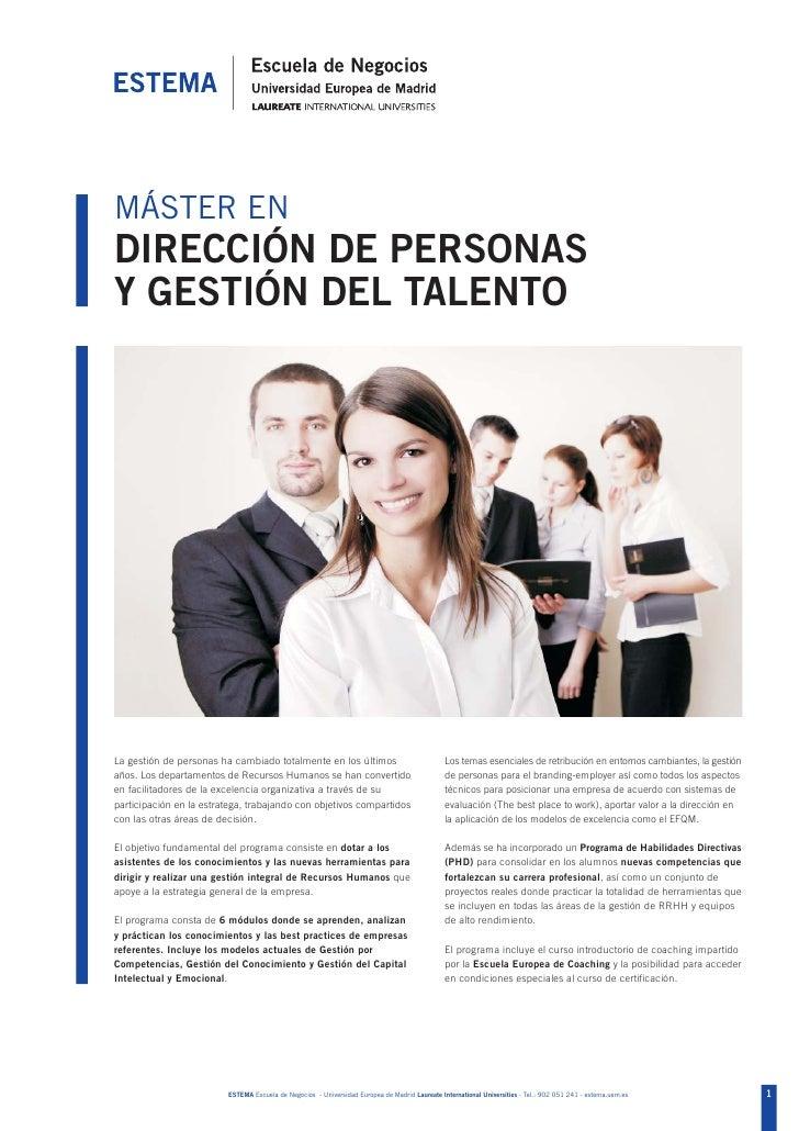 MASTER en Dirección de Personas y Gestión del Talento. ESTEMA Escuela de negocios.