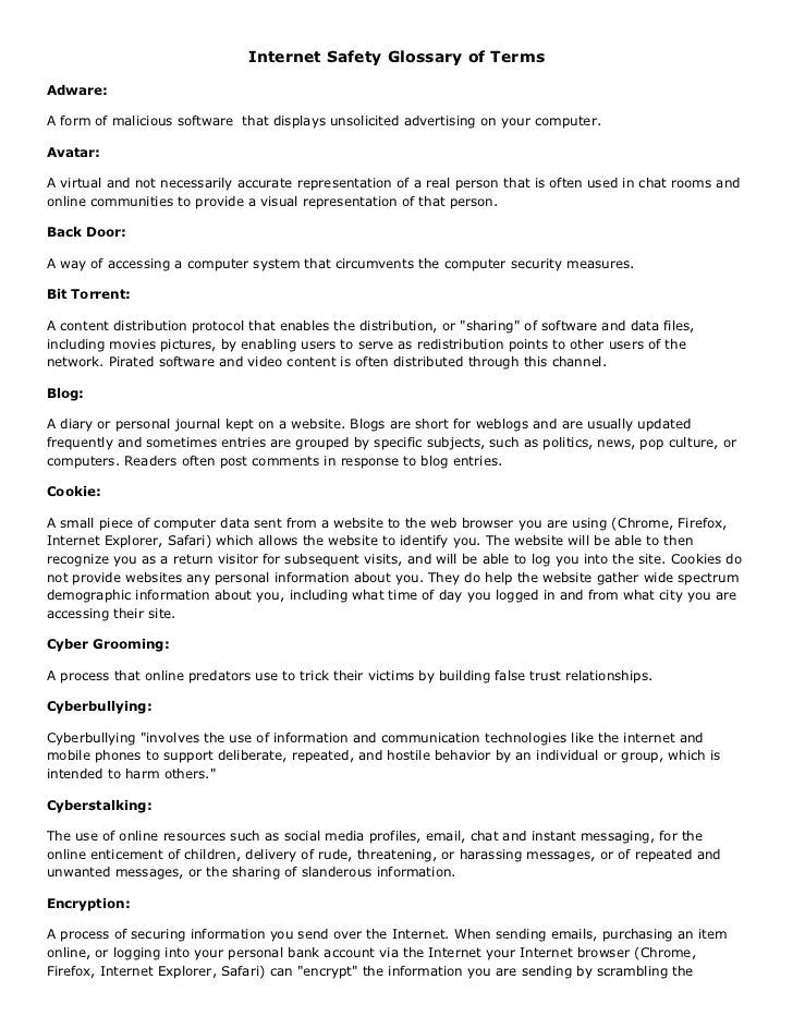 Internet Safety Glossary of Terms