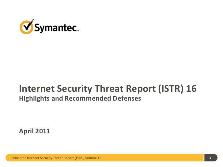 Internet Security Threat Report, Volume 16