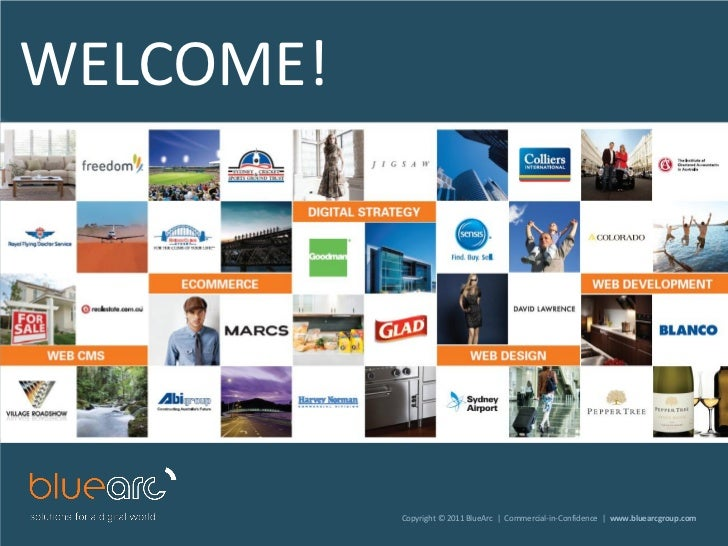 WELCOME!           Copyright © 2011 BlueArc | Commercial-in-Confidence | www.bluearcgroup.com