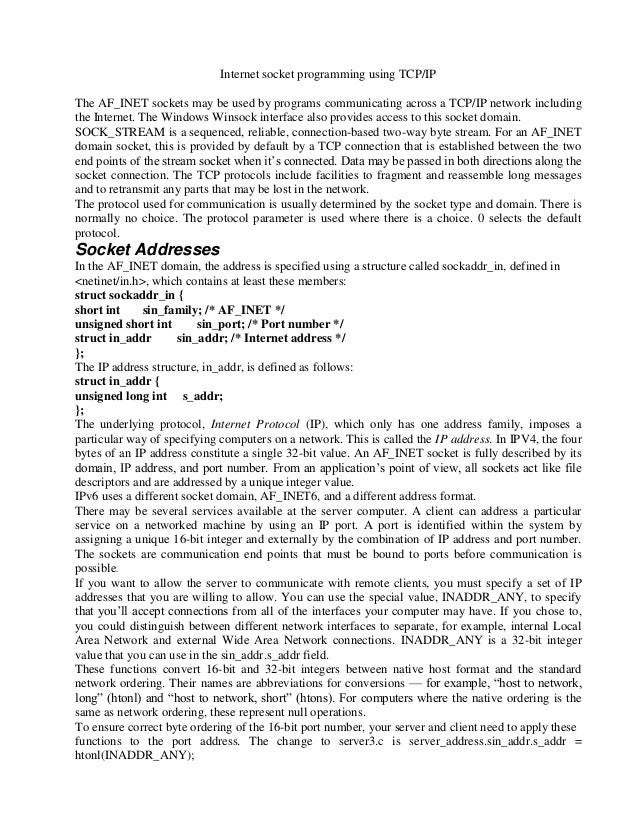 Internet socket programming using tcp assignment2