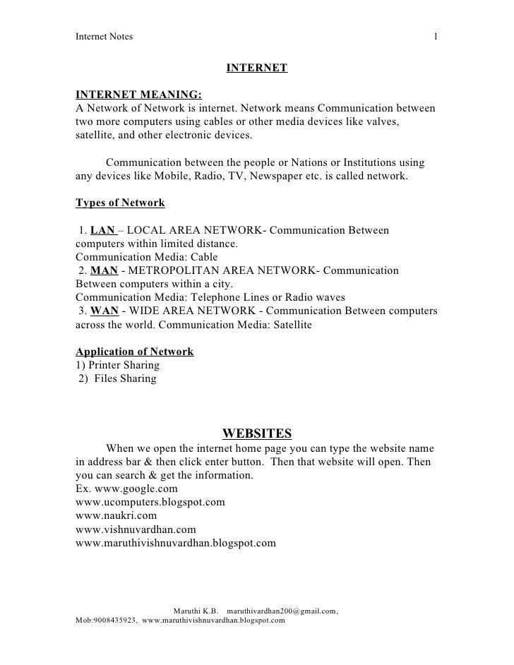 Internet Notes                                                            1                                    INTERNETINT...