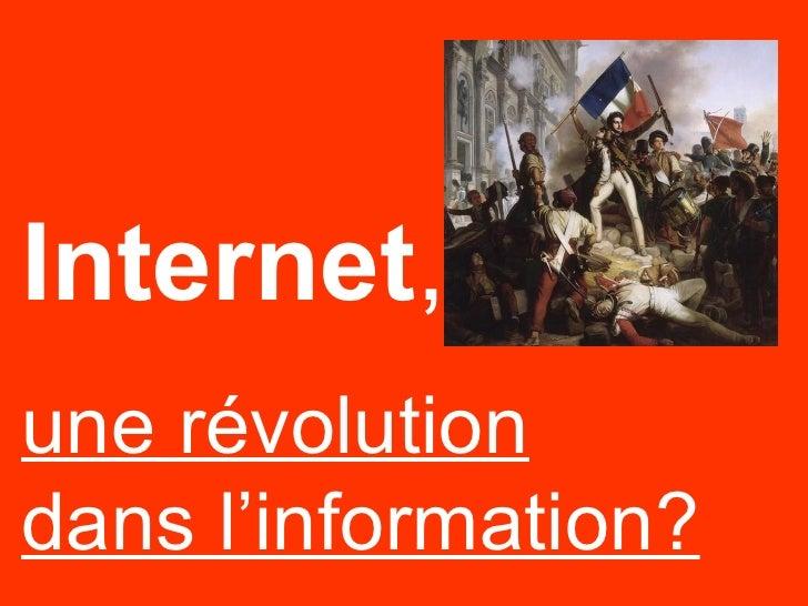 Internet, Une RéVolution Dans Linfo
