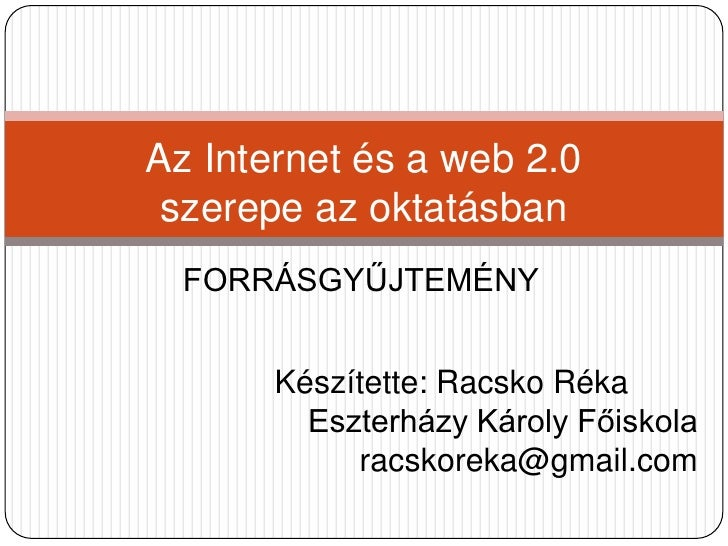 Internet Webketto Az Oktatasban Racsko Reka