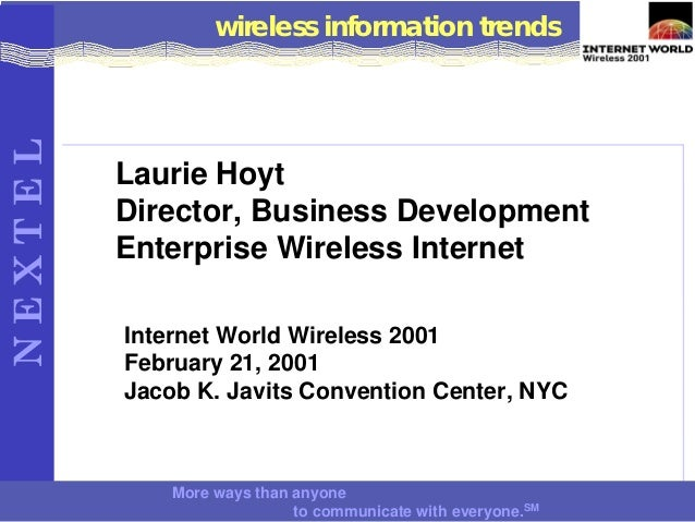 How to Cross the Wireless Data Chasm:  Internet World Wireless East, February 2001