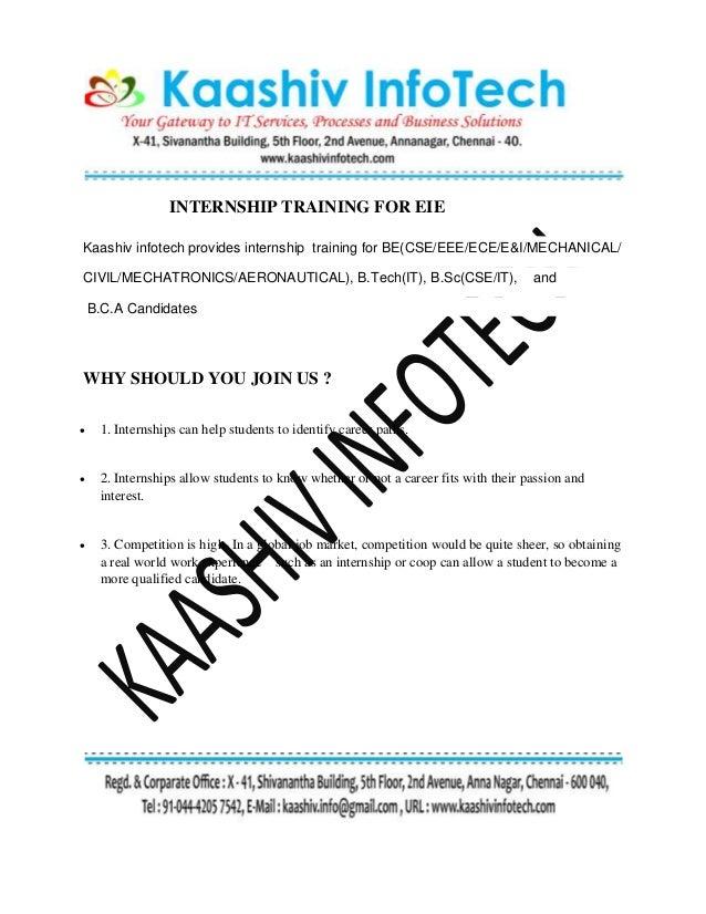 INTERNSHIP TRAINING FOR EIE Kaashiv infotech provides internship training for BE(CSE/EEE/ECE/E&I/MECHANICAL/ CIVIL/MECHATR...