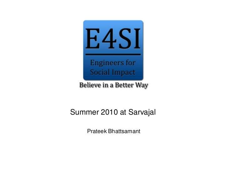 Summer 2010 at Sarvajal    Prateek Bhattsamant