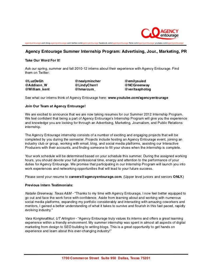 Agency Entourage Summer Internship 2012 - Advertising, Marketing, Journalism, Public Relations