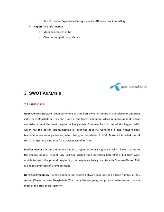 swot analysis of grameen phone 20 chapter three: internal environment analysis of grameenphone   the  core competencies of gp and a swot analysis of the firm are given below.