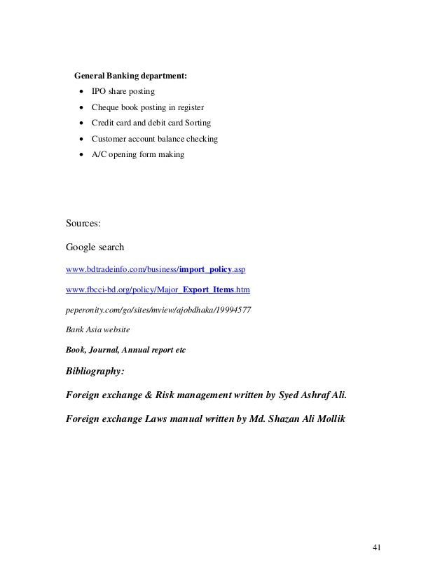 Internship Report On Foreign Trade Activities In Bank Asia Ltd