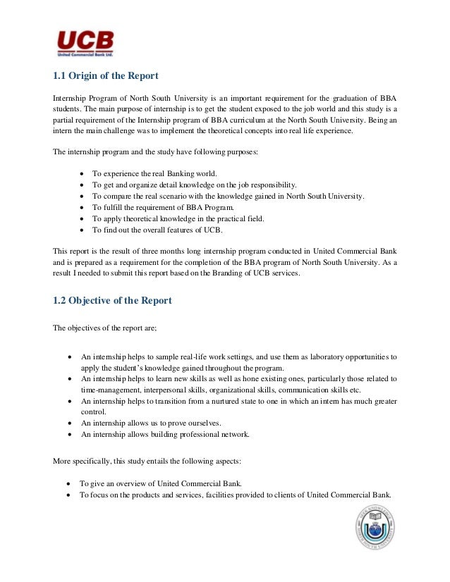 internship report on bank Mba internship report latest approval letter letter of testimonial acknowledgements executive summary chapter 1 ¶ introduction¶ the report.