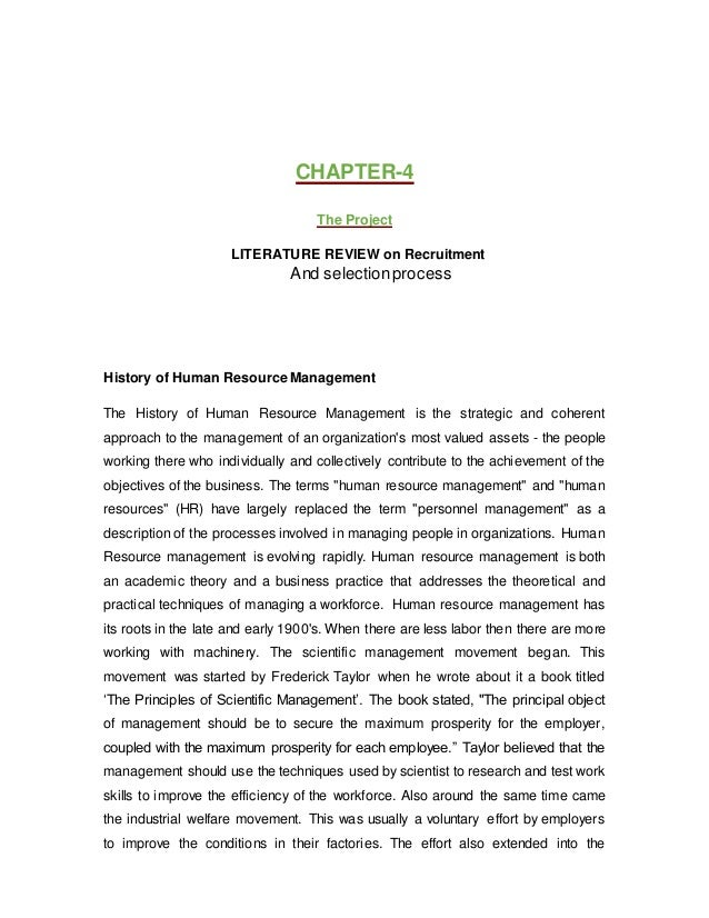 Literature Review On Recruitment And Selection