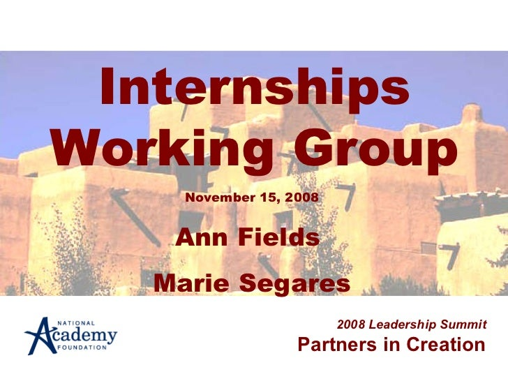 Internships Working Group 2008 Leadership Summit Partners in Creation November 15, 2008 Ann Fields  Marie Segares