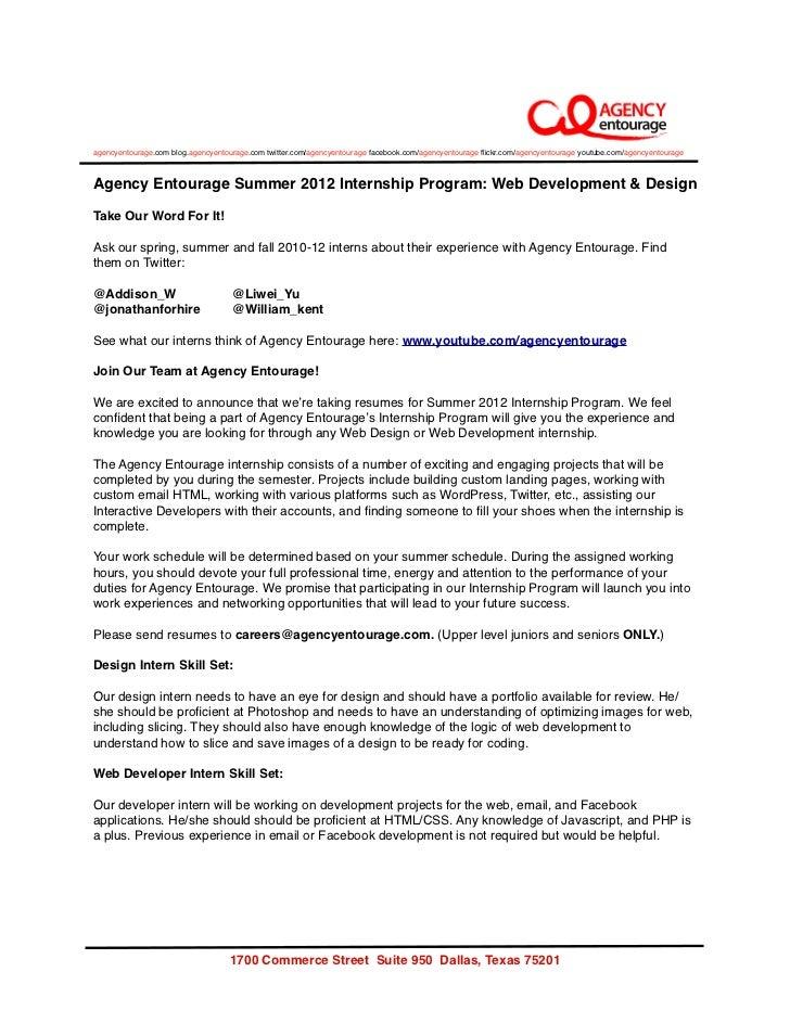 Agency Entourage Summer Internship 2012 - Web Design & Development