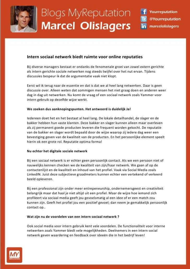 Intern sociaal netwerk biedt ruimte voor het versterken van de online reputatie