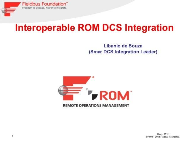 1Março 2012© 1994 – 2011 Fieldbus FoundationInteroperable ROM DCS IntegrationLibanio de Souza(Smar DCS Integration Leader)