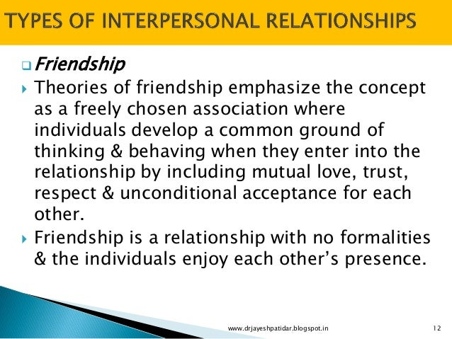interpersonal relationship and friend Friendship friendship is a complex, multi-dimensional interpersonal relationship because people use several criteria to choose a friend depending on the different rewards they want met friends do things for each other and that contributes to the rewards experienced in the relationship a functional perspective to relationship development.