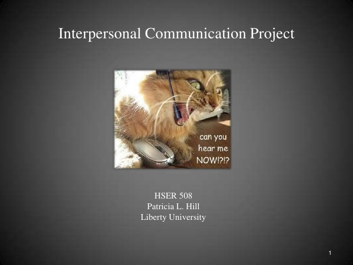 Interpersonal Communication Project<br />HSER 508<br />Patricia L. Hill<br />Liberty University<br />1<br />