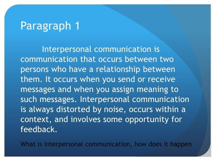essay on interpersonal communication Interpersonal communications essay 1036 words | 5 pages abstract the object of this paper is to examine the effectiveness of interpersonal communication.