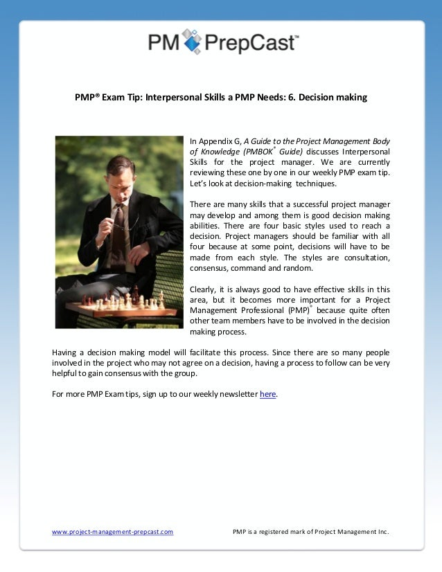 Interpersonal Skills A PMP Needs Decision Making