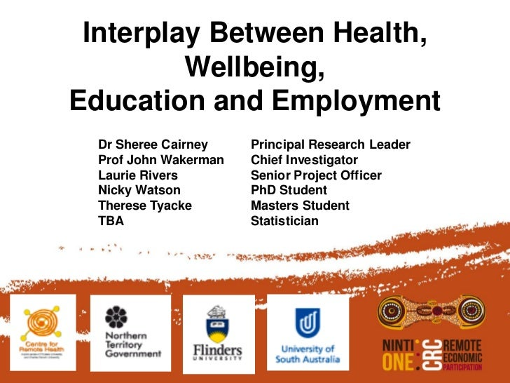 Interplay Between Health,         Wellbeing,Education and Employment  Dr Sheree Cairney    Principal Research Leader  Prof...