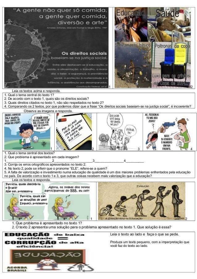 Interpretação de texto direitos sociais e educação