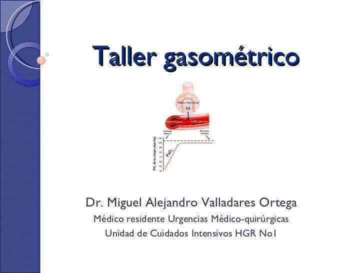 Taller gasométrico Dr. Miguel Alejandro Valladares Ortega Médico residente Urgencias Médico-quirúrgicas Unidad de Cuidados...