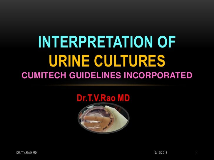 INTERPRETATION OF                  URINE CULTURES   CUMITECH GUIDELINES INCORPORATED                    Dr.T.V.Rao MDDR.T....