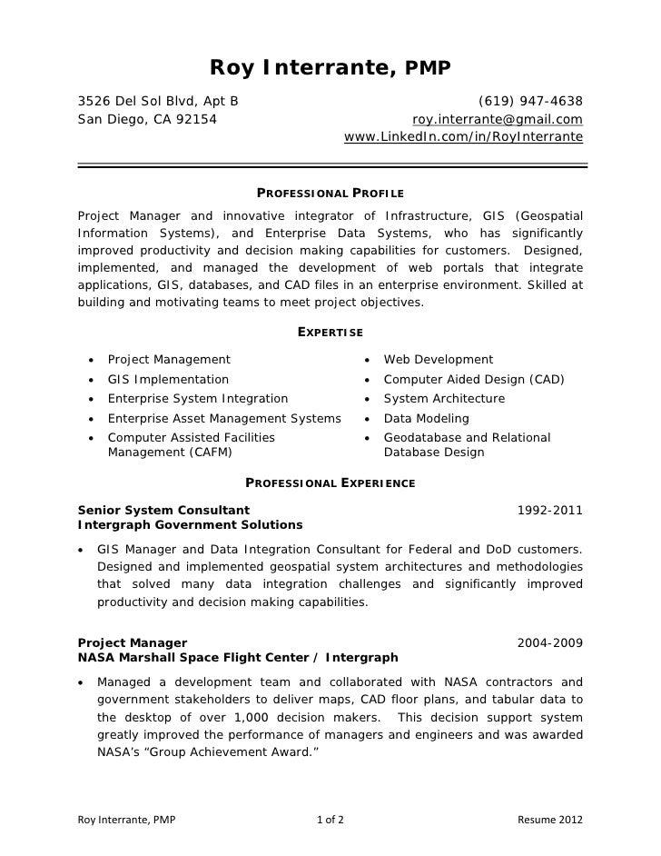 Pmp Resume,Roy Interrante PMP3526 Del Sol Blvd Apt B 619 947 ...