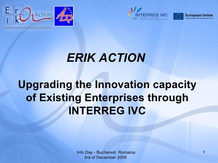 INTERREG IV C-Ministry of Regional Development-ERIK Action-2009