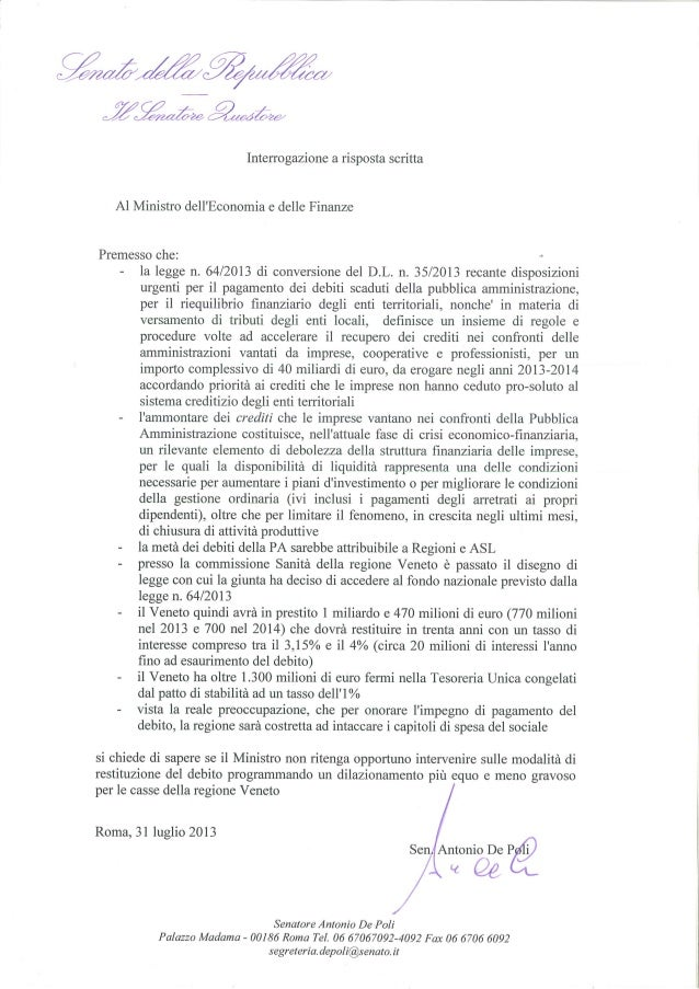 Interrogazione Sen . Antonio De Poli a ministro economia su debiti scaduti delle PA